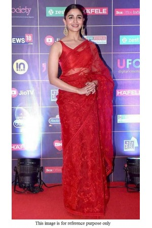 Bollywood Sabyasachi Inspired Alia Bhat red net saree