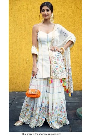 Bollywood Shilpa Shetty Inspired white sharara set