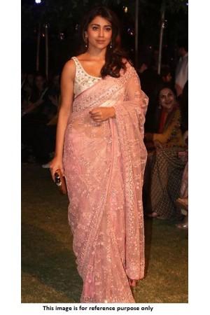 Bollywood Shreya Saran Inspired Pink net saree