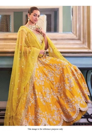 Bollywood Sonakshi Sinha Inspired yellow silk lehenga