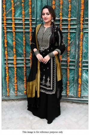 Bollywood Sonakshi Sinha inspired black palazzo suit