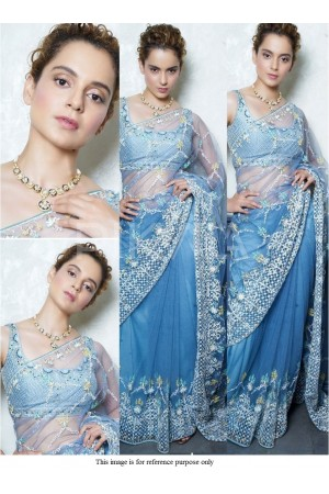 Bollywood Kangana Ranautt blue net saree