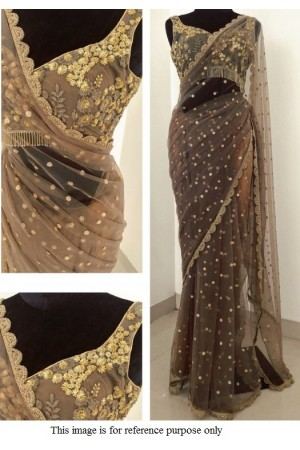 Bollywood Model Grey net designer saree