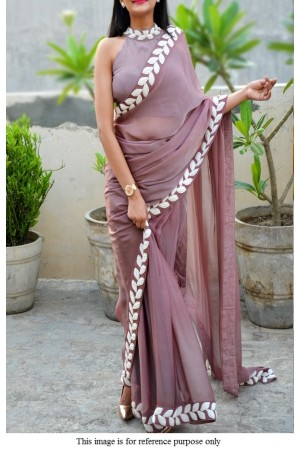 Bollywood model Mauve vichitra silk saree