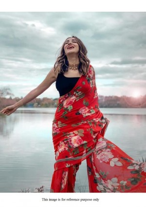 Bollywood model red floral digital print saree