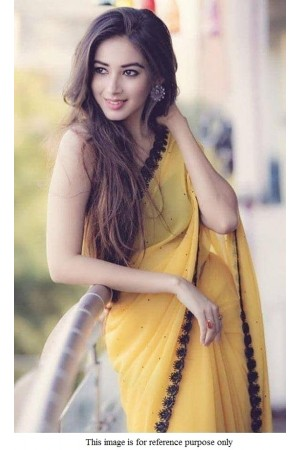 Bollywood model yellow moti work georgette saree