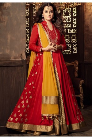 Dia Mirza Red color georgette lehenga kameez 45001
