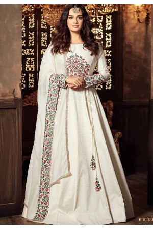 Dia Mirza White color georgette Anarkali kameez 45005