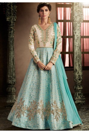 Firozi kalidar heavy work anarkali 11060