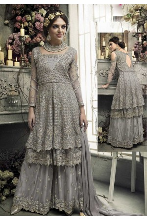 Grey color heavy work palazzo kameez S303