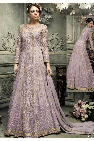 Lavender color heavy work wedding anarkali S305