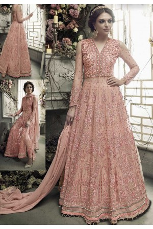 Light pink heavy work anarkali S302