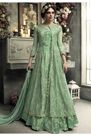 Mint green heavy net koti style anarkali S304