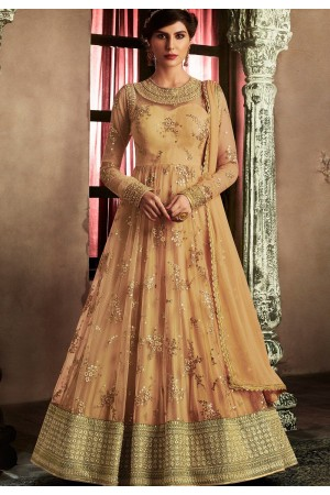 Orange net latest wedding floor touch anarkali 11059
