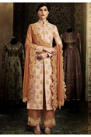 Rust color silk wedding salwar kameez 11064