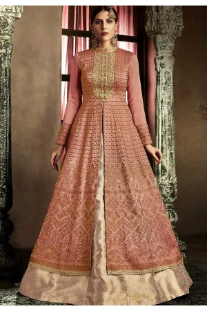 Rust color slub silk wedding lehenga kameez 11061