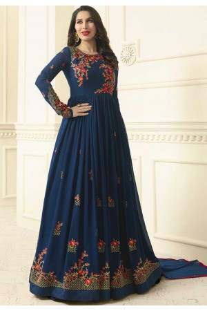 Sophie Choudry Blue georgette wedding anarkali 194