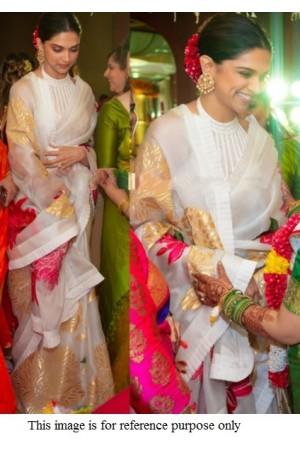 Bollywood Deepika Padukone inspired white organza digital print saree