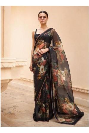 Bollywood Sabyasachi Inspired black organza saree