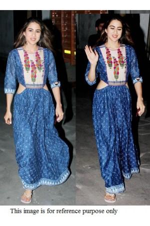 Bollywood Sara Ali Khan Inspired blue crepe gown