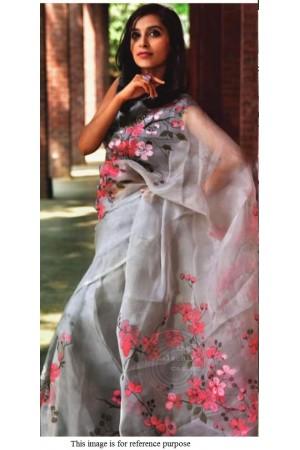 Bollywood model Grey and black pure organza digital print saree
