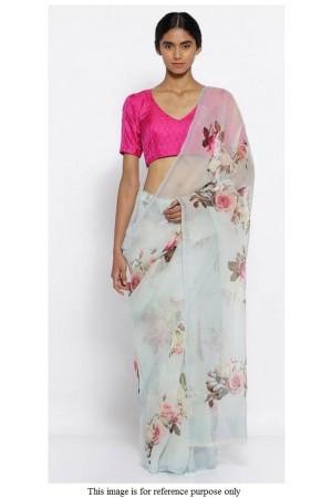 Bollywood model Grey pure organza digital print saree