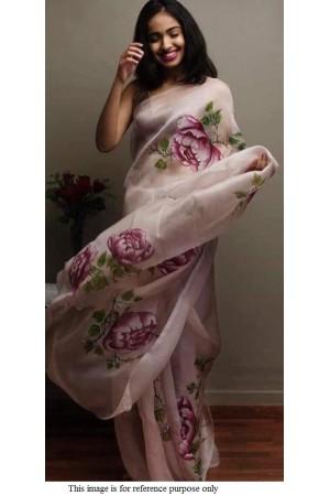 Bollywood model Grey and purple pure organza digital print saree