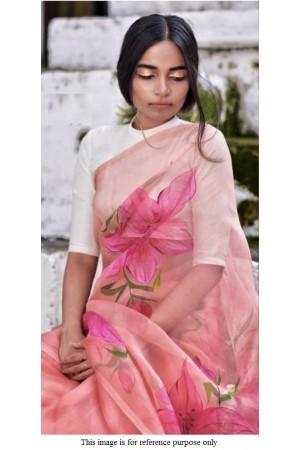 Bollywood model peach and cream pure organza digital print saree