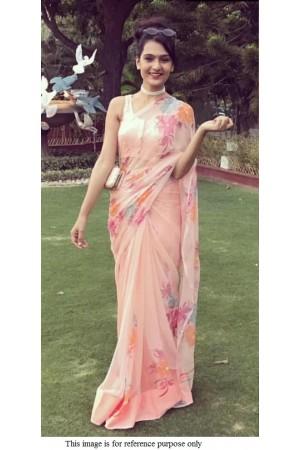 Bollywood model peach pure organza digital print saree