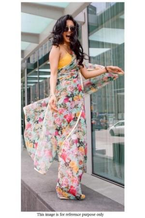 Bollywood model aqua green pure organza digital print saree