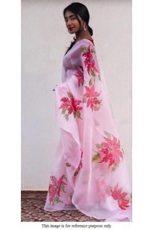 Bollywood model rose and red pure organza digital print saree