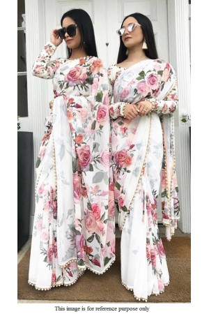 Bollywood Model Inspired white floral georgette saree
