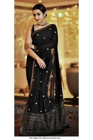 Kollywood Trisha Krishnan Sabyasachi Inspired black saree