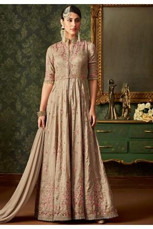 beige banarasi silk embroidered long anarkali suit 7103