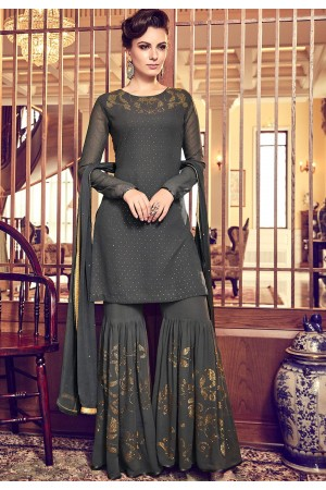 dark grey georgette designer sharara pakistani suit 6011
