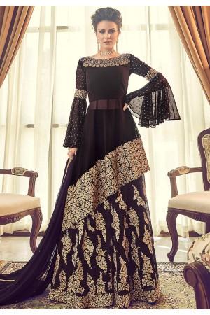 dark purple georgette embroidered sharara style pakistani suit 6005