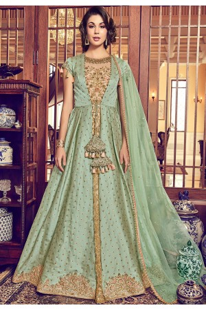 green beige jacquard silk embroidered jacket style floor length anarkali suit 6010
