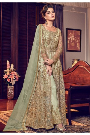green butterfly net heavy embroidered trouser style pakistani suit 6006