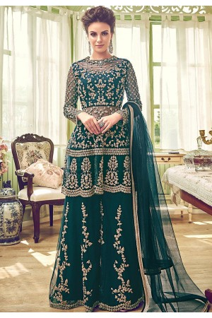 green shade butterfly net embroidery palazzo style pakistani suit 6002