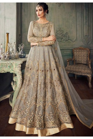 grey heavy net embroidered lehenga style anarkali suit 8218