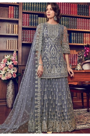 grey shade butterfly net embroidered sharara style pakistani suit 6008
