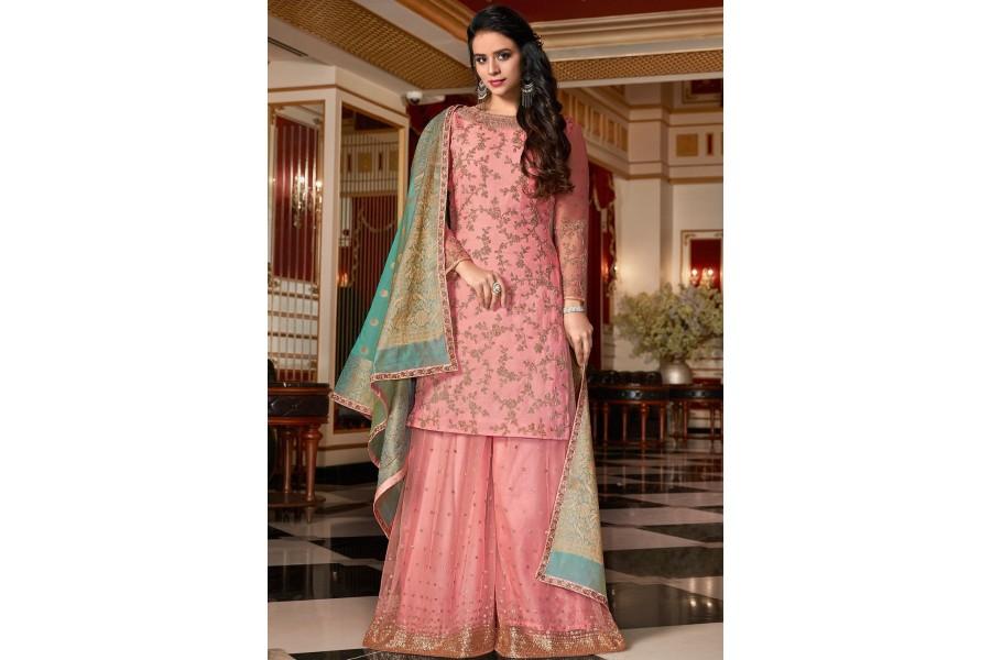 a9fd12d1c4 light pink designer satin georgette embroidered sharara style pakistani  suit 4515