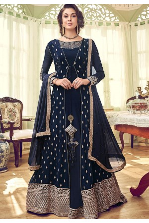 navy blue georgette embroidered jacket style floor length anarkali suit 6007