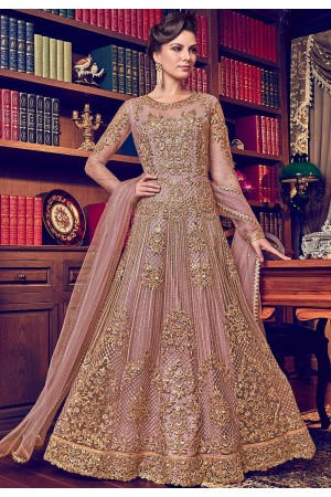 pastel pink butterfly net heavy embroidered floor length anarkali suit 6012