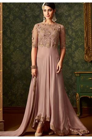 pastel pink rangoli designer floor length wedding suit 7101