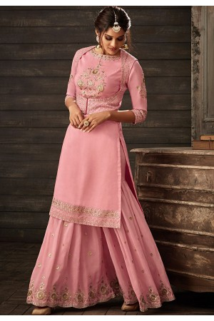 pink georgette embroidered sharara style pakistani suit 30001