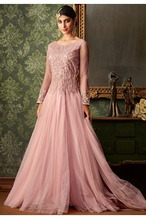 pink net embroidered floor length gown 7104