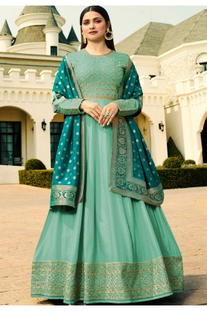 prachi desai sky blue silk long anarkali suit 10231