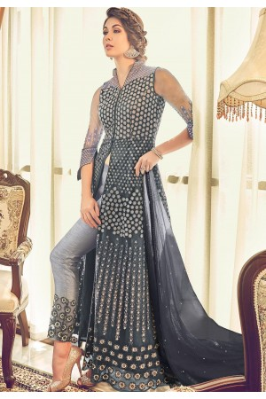 steal grey net embroidered trouser style designer suit 6009