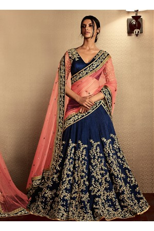 Astounding Navy Blue Cotton Designer Lehenga Choli